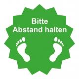 Fussboden Aufkleber / Bitte Abstand halten / grün-weiß