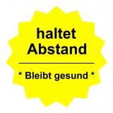 Fussboden Aufkleber / haltet Abstand / gelb-schwarz