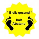 Fussboden Aufkleber / bleibt gesund / gelb-schwarz