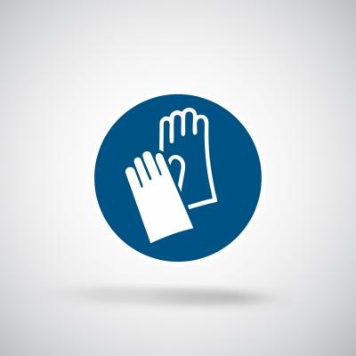 Aufkleber Handschuhe benutzen