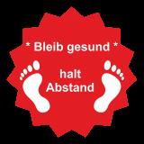 Fussboden Aufkleber / bleibt gesund / rot-weiß
