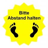 Fussboden Aufkleber / Bitte Abstand halten / gelb-schwarz